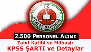 Adalet Bakanlığına 2500 Personel Alınacak.