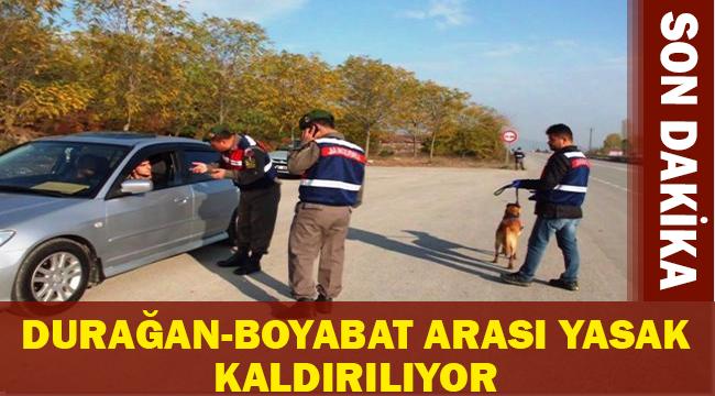 Sinop Valiliği Açıkladı Durağan-Boyabat Arası Yasak Kalkıyor İşte Tarihi ! SON DAKİKA