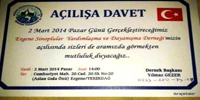 Ergene Sinoplular Derneği Açılışına Davet.